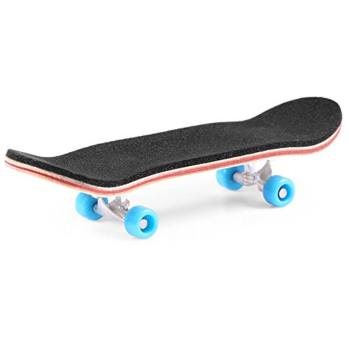 BISOZER Mini Finger Skateboard – Wooden Finger Board Ultimate Sport Training Props in Light Brown with Ball Bearings -1 Pack (Random Color Bearing Wheels)