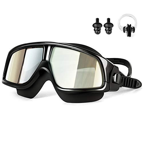 Besimulus Swim Goggles, Swimming Goggles with Ear Plugs and Nose Clip No leaking Anti Fog UV Protection for Adult Kids Men Women Youth Triathlon Black