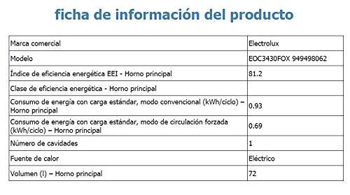 HORNO EOC-3430FOX PIROL. 74L.A+ ELECTROLUX