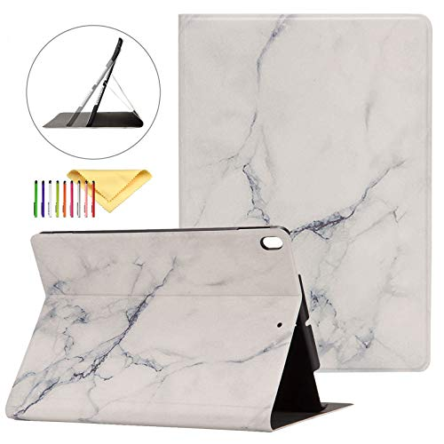 New iPad 10.2 2019 Case with Pen Holder, Apple iPad 7th Generation Case [Marble Map Series], Uliking PU Leather Shockproof Stand Smart Cover with Auto Wake/Sleep for iPad 7th Generation 2019, White
