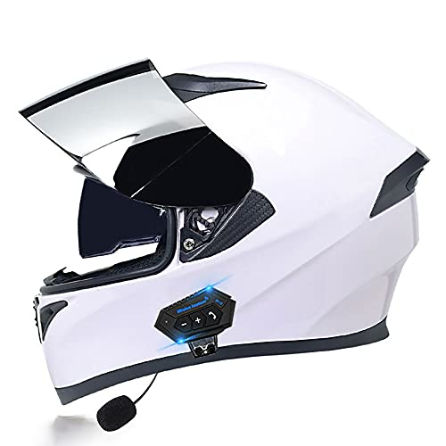 BDTOT Bluetooth De Motocicleta Casco Modular Cascos Integrales Dot/ECE Certificado con Doble Anti Niebla Visera a Prueba de Viento para Adultos Hombres Mujeres Unisex 55-62CM