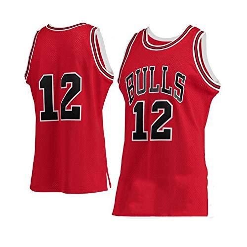 Camiseta de Baloncesto NBA para Hombre, Retro Jersey Swingman Basketball Camisetas, Michael Jordan # 12, Chaleco de Gimnasia Top Deportivo Ropa, S-XXL, Z047MK (Color : Red, Size : S)