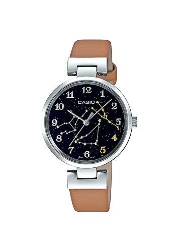 Casio LTP-E11L-5A1 Women\'s Leather Band Black Taurus Zodiac Motif Dial Analog Watch