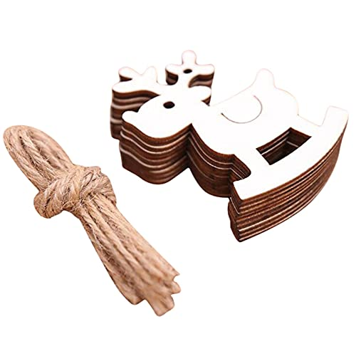LLZIYAN 10 PCS Holz Geschnitzte Hohle Trojanische Pferdedekorationschips für Weihnachten,Elch