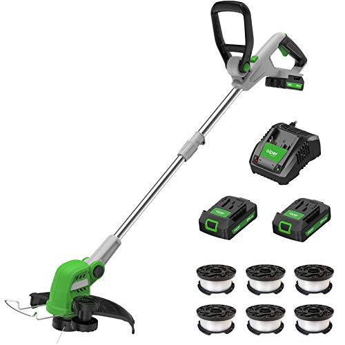 """AIPER SMART 20V 12"""" Cordless String Trimmer/Edger, Detachable Weed Wacker with Two Batteries & Quick Charger, Weed Trimmer with 6 Spools, Lightweight&Maneuverable"""