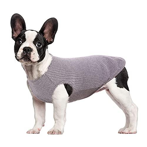 HJUMARAYAN: Hondenhemd voor kleine honden, katten en huisdieren, gestreept T-shirt, zomer, cool vest, puppy, basic tanktop, zacht katoen, Chihuahua kleding voor Doggy Girl Boy (grijs XXS)