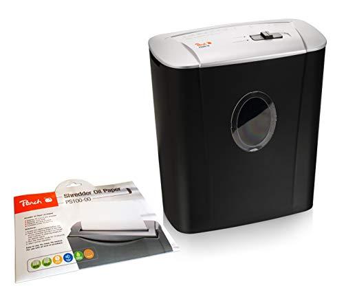 Peach PS500-10A Partikelschnitt Aktenvernichter inkl. Öl Papier PS100-00 | 5 Blatt | 11 Liter | 4 x 28 mm Partikel (P-4) | Papier, Kreditkarten | Enspr. DSGVO 2018,