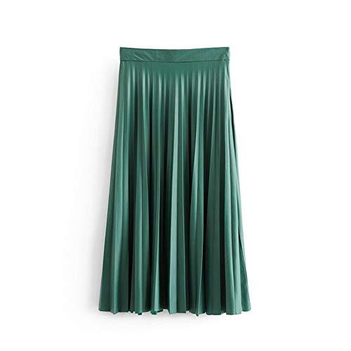 FEIFUSHIDIAN Versátil de Las Mujeres Efecto Cuero Y Largas Secciones Faldas Plisadas Suéter (Color, Size : XS)