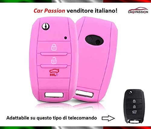 Carcasa para llave compatible con Kia CEE'D CEED Sorento Sportage Rio Carens Soul Venga Niro silicona goma 3 botones llavero funda suave protección mando a distancia coche Rosa