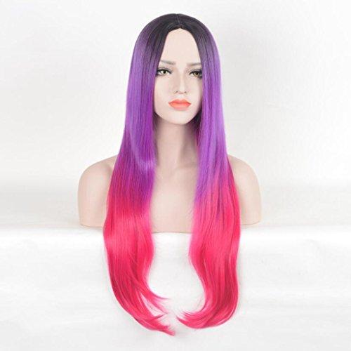 Longless Rose Noir Violet Gradient blanchiment des Cheveux Lisses tête Longue Perruque Femme