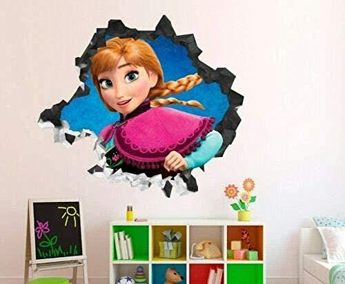 Wandaufkleber Wandaufkleber Gefroren Annas Gesicht Smash Wandtattoo Dekoration Kinder 3D Aufkleber Vinyl Art
