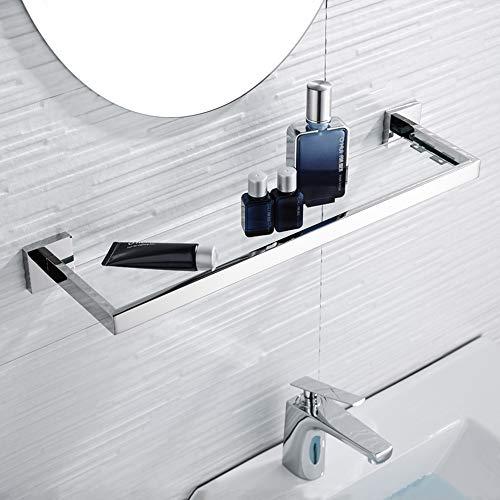 WINCASE Chrome Bathroom Shelf, Bath Glass Shelf 22-Inch, Wall Mounted SUS 304 Stainless Steel Bathroom Vanity Shlef 1 Tier Wall Storage Organizer Extra Thick Tempered Glass, Rectangular Shower Storage