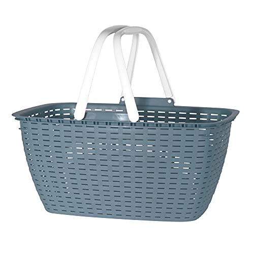 hibuy Cesta de la compra Gisi con asas plegables, cesta estable de plástico con aspecto trenzado, 43 x 32 x 22 cm, color azul
