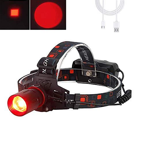 Stirnlampe led Wiederaufladbar Rotlicht, 1000 Lumen Outerdo Stirnlampen mit Rotlicht Zoombar für Jagd Astronomie Nachtsicht Camping Angeln (Rotes Licht)