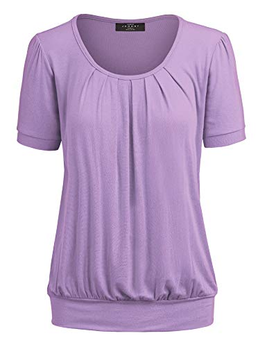 MBJ WT1175 Womens Scoop Neck Short Sleeve Front Pleated Tunic XXXL Lilac