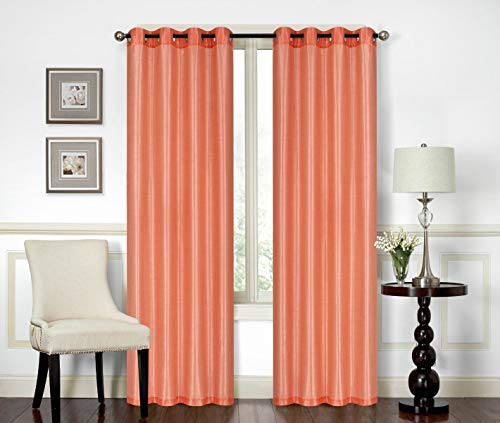 """All American Collection New Elegant Modern Contemporary Solid Faux Silk Window Treatment Curtain (54"""" x 84"""", Peach Panel)"""