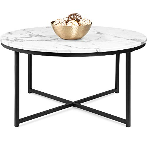 Best Choice Products 36in Faux Marble Modern Round Accent Side Coffee Table for Living Room, Dining Room, Tea, Home Décor w/Metal Frame, Non-Marring Foot Caps - White/Black