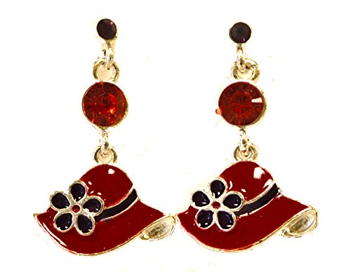 Holiday Deals! Little Red Hat Cloisonne Earrings Red Hat Ladies Society