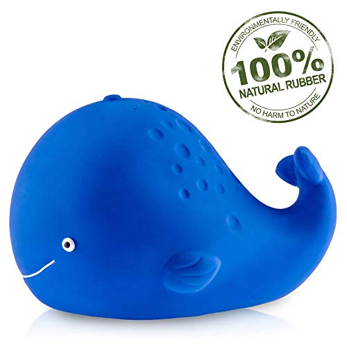 Pure Natural Rubber Baby Bath Toy - Kala the Whale - Without Holes, BPA, PVC, Phthalates Free, All Natural, Textured for Sensory Play, Sealed Bath Rubber Toy, Hole Free Bathtub Toy for Babies