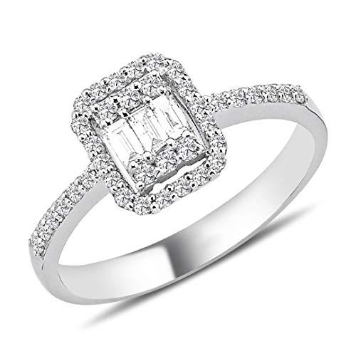 0,33 Carat Baguette Diamant Ring in 14 Karat Weißgold
