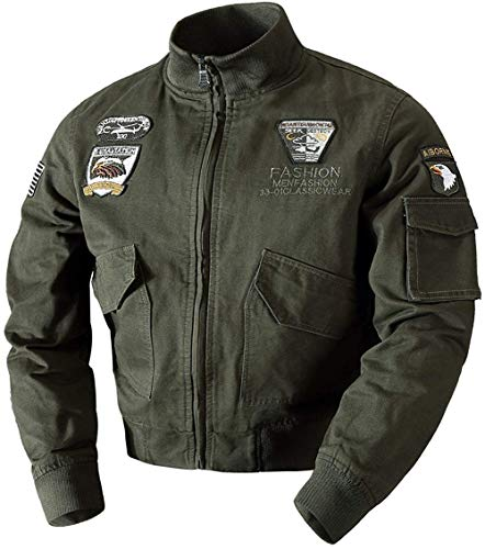WGG Heren Klassieke Upscale Lente Herfst Katoen Militaire Air Force Bomber Jas Lichtgewicht Outdoor Combat Vlucht Jas Medium Leger Groen