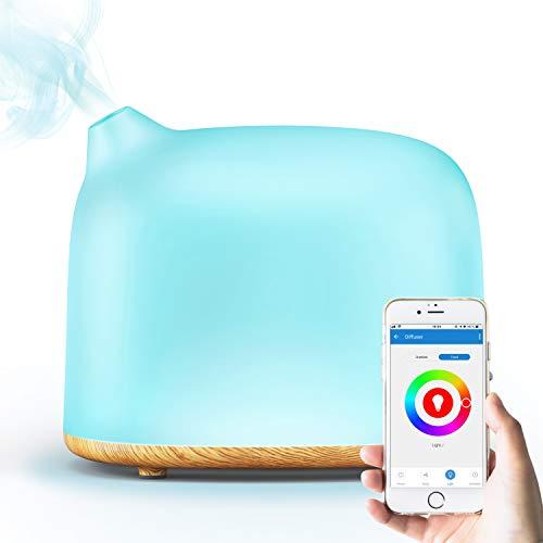 GX·Diffuser Alexa Luftbefeuchter Ultraschall Aroma Diffuser,300ML Smart WIFI Vernebler Raumbefeuchter Duftlampe Öle Diffusor,Kompatibel mit Alexa & Google Home,14 LED Farben für Raum,Büro,Yoga,Spa,usw