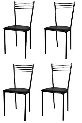 Tommychairs - Set 4 sedie modello Elena per cucina bar e sala da pranzo, struttura in acciaio verniciata colore nero e seduta imbottita e rivestita in pelle artificiale colore nero