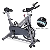 MaxKare Magnetic Exercise Bike Belt Drive Stationary Indoor Cycling Bike with High Weight Capacity Adjustable Magnetic Resistance w/LCD Monitor Tablet Holder (Gray)