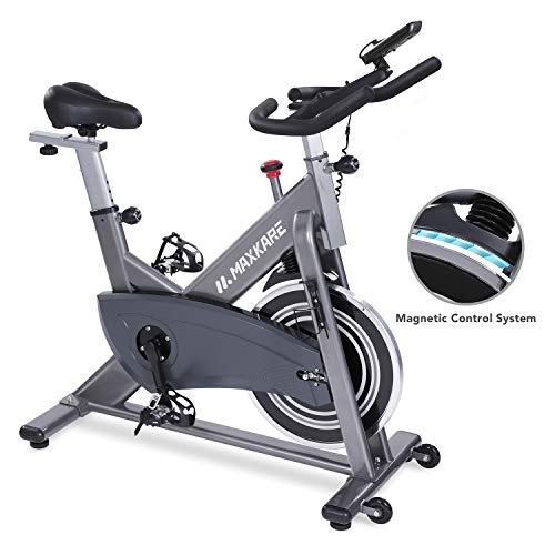 MaxKare Magnetic Exercise Bike Belt Drive Stationary Indoor Cycling Bike with High Weight Capacity Adjustable Magnetic Resistance w/LCD Monitor Tablet Holder (Gray) …