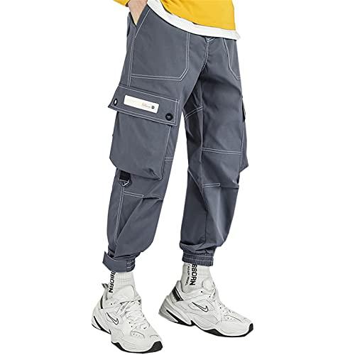 USTZFTBCL Harem Hombres Pantalones Largos Pantalón de Carga Pantalones de Pista Casual Pantalones de Pista Macho al Aire Libre Senderismo Trekking Gray XL