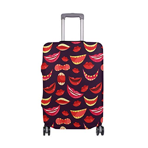 ALINLO Sexy Red Lips Pattern Luggage Cover Baggage Suitcase Travel Protector Fit for 18-32 Inch