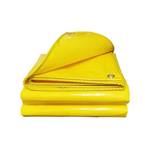 Auart Tarp Zelt, Hochreißfest Heavy Duty Tarp for Bauunternehmer, Camper, Maler, Landwirte, Boote, Motorräder, Heu-Ballen, 6m x 8m, Gelb (Color : Yellow, Size : 5mX8m)