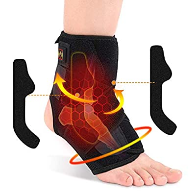 Doact Heated Ankle Brace for Men and Women, Heat Therapy Ankle Support Compression Wrap for Injury Joint Recovery, Ankle Sprain Swelling, Arthritis, Tendinitis, Strain, Fatigue, Fit Left/Right Foot