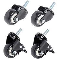 Ruedas giratorias de poliuretano para muebles, 50 mm, 4 unidades, color negro, 4×Brake,Screw fixing, Negro