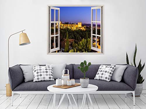 Alhambra Granada Raamfolie, 115 x 100 cm, inclusief sticker, decoratie voor muren en kamers, landschapsmotieven, elegant design