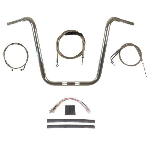 Hill Country Customs 1 1/4' Chrome 18' Ape Hanger Handlebar Kit for 2008-2011 Harley Dyna Fat Bob models