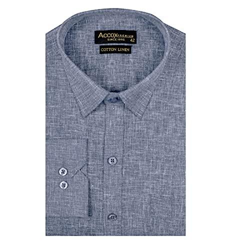ACCOX Men's Full/Long Sleeves Formal Regular Fit Cotton Linen Plain Shirt (GCRFS29)