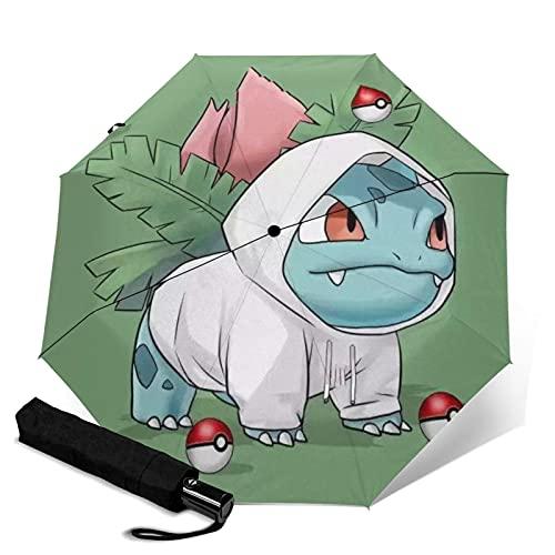 Paraguas de viaje con diseño de anime Squirtle, portátil, con asa para adultos y niños, unisex