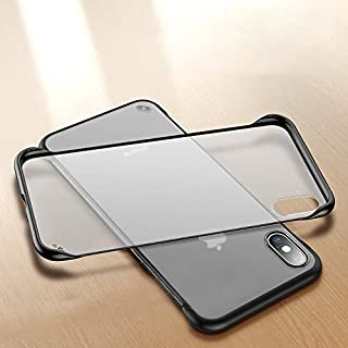 Amozo® - Frameless Series - Transparent Slim with Camera Protection Back Cover Case for Apple iPhone X/XS (Black)