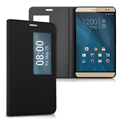 kwmobile Flip Hülle Case kompatibel mit Huawei MediaPad X2 7.0 - Sichtfenster - Kunstleder Tasche Cover Schwarz