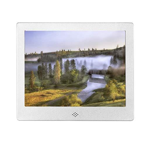 IW.HLMF Digitaler Bilderrahmen, elektrische Bilderrahmen mit 8-Zoll-IPS-Bildschirm HD-Bildalbum-Unterstützung MP3 MP4-Video-Player-Uhrenkalender mit Fernbedienung, Silber, AU-Geschenk