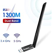 EDUP USB 3.0 WiFi Adapter 1300Mbps Dual Band Wireless Network Adapter 802.11 AC 6dBi Antenna for Desktop PC Wi-Fi Dongle Compatible Windows 10/7 /8/8.1 /XP Mac OS X 10.6-10.15, Model Number: EP-AC1687