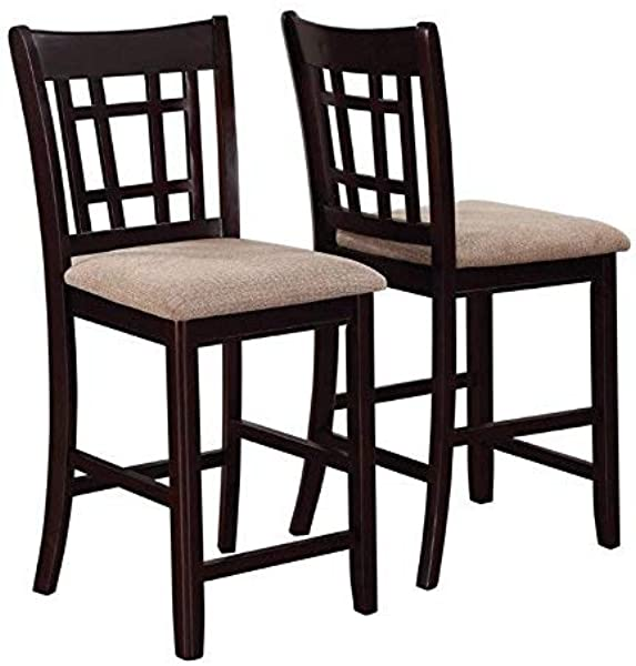 Lavon Lattice Back Counter Stools Tan And Espresso Set Of 2