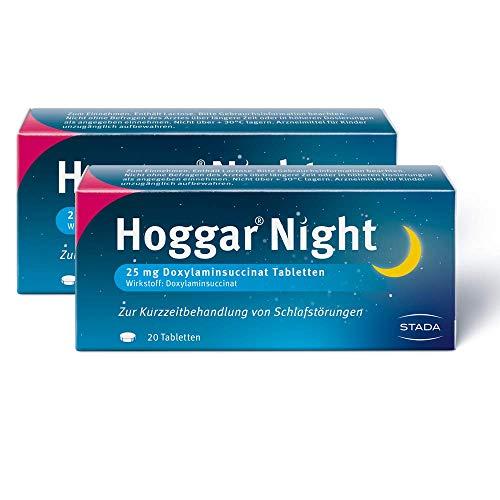 Hoggar Night - 2 x 20 Schlaftabletten zur Hilfe beim Einschlafen und bei akuten Schlafstörungen - Gut verträglich, für erholsamen Schlaf