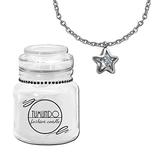 tumundo Fashion Candle Schmuck Kerze Weiß + Halskette und Anhänger Strass Kristall Zirconia Stern Kugel Schmuckkerze, Variante:Variante 3