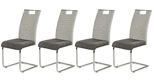lifestyle4living Stuhl in grau mit geflochtenem Rücken, Designer Schwingstühle im 4er Set, hochwertige Polsterung für einen bequemen Sitz, Gestell verchromt