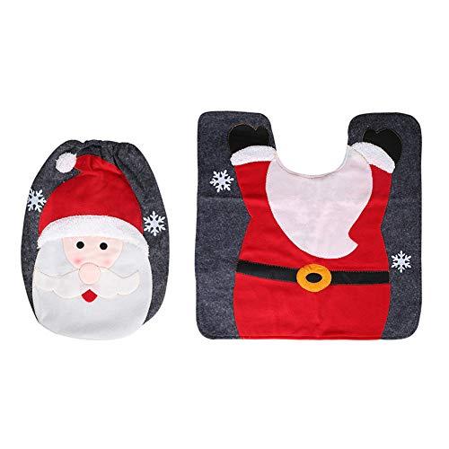 Sanwoodd 2pcs Tapis de siège de Toilette d'impression de Noël Tapis Elk Santa Bonhomme de Neige décoration de Salle de Bains Santa*