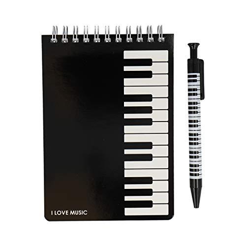 Schreibset mit Spiralblock und Kugelschreiber Musikmotive - Schönes Geschenk für Musiker (Tastatur)