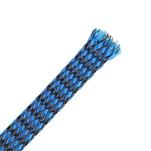 DealMux Funda Trenzada Extensible Pet de 3 pies - 3/8 Pulgadas - Funda de Cable Trenzado 4PCS - Azul