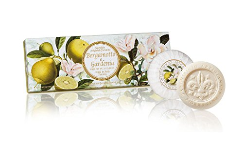 Gardenia et Bergamote, Savon rond 3 St par 100 g, savon de Fiorentino italienne, avec décoratif gravé